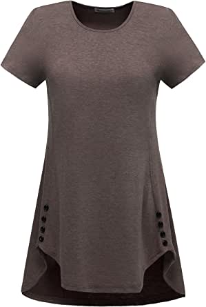 Modecrush 女式长款束腰衬衫,紧身运动服,健身上衣,独特的纽扣装饰 棕色 XX-Large