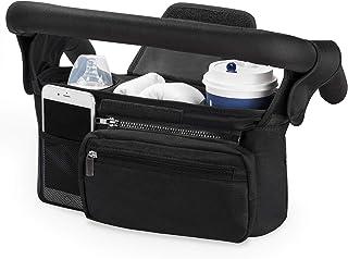 Momcozy 通用婴儿车收纳袋,带隔热杯架 - 可拆卸手机袋和肩带,适合婴儿车,如 Uppababy、Baby Jogger、Britax、Bugaboo、BOB、雨伞和宠物婴儿车