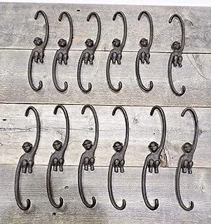 12 只猴子挂钩植物野营水壶挂钩铸铁猿猴 9 1/4 英寸长