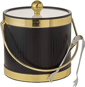 在美国手工制作双壁 3 夸脱保温冰桶,带赠冰夹 Black With Dual Gold Bands
