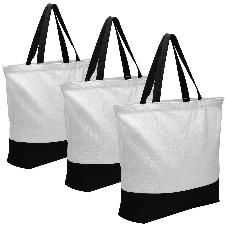 帆布袋,3 件多功能棉帆布大手提袋,可水洗帆布购物袋,可重复使用的装饰杂货布袋