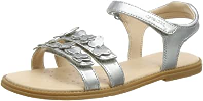 Geox Girls J Karly I Open Toe Sandals, Silver, 7 UK (24 EU)