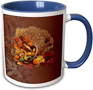 3dRose Beverly Turner 感恩节设计 - 玉米花篮填充有美味、浆果和玉米,感恩节 - 马克杯 蓝色/白色 11-oz Two-Tone Blue Mug mug_290376_6