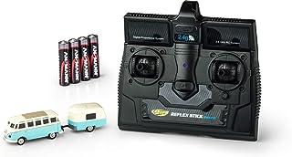 CARSON 500504122 – 1:87 VW T1 Samba 巴士带拖车 2.4G RTR,可驾驶模式,2.4 GHz 遥控带充电接口,包括: 4 x AAA 电池,带 LED 照明,使用说明(不一定支持中文)