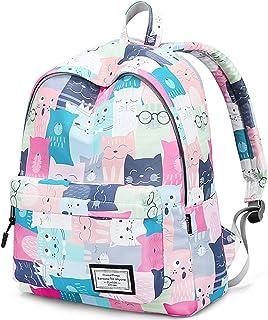 青少年防水书包,可爱几何图案笔记本电脑包女孩书包 Cat(6002) 14英寸