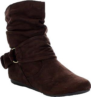 女式时尚小牛皮平跟侧拉链宽松及踝靴