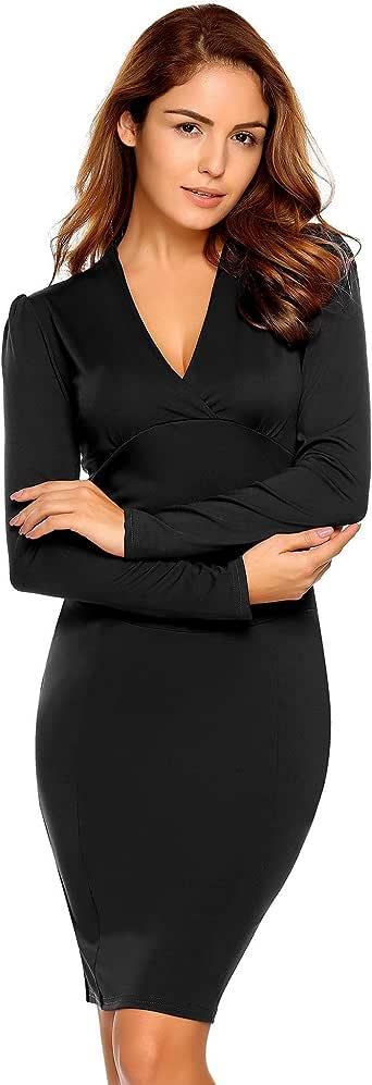 AL'OFA 女式长袖 V 领商务束腰弹性紧身铅笔中长裙 黑色 XX-Large