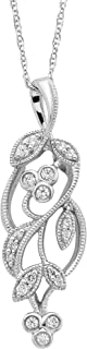 纯银 0.12 克拉钻石叶子吊坠带链