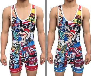 TRI-TITANS Merica 全彩双面摔跤汗衫 - Freestyle Greco Roman Folkstyle - 红色和蓝色男式和青少年