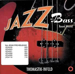 Thomastik-Infeld JR36075 Bass Guitar Strings: Jazz Round Wound Nickel Flat Wound; Round Steel Core - Single A String