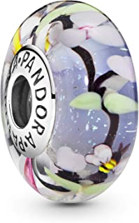 PANDORA Enchanted Garden Glass 小饰品 (银色 不均匀玻璃) 正规进口商品 797014