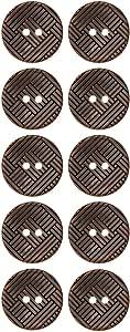 ABS 金属电镀纽扣 2 孔矩形几何图案 Ant. Brass 22mm MIB6869_36ANT_BRS