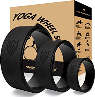 Seven Sparta 瑜伽后轮套装 3 件装瑜伽后轮,用于拉伸、背部*、背部弯曲和*练习,13 英寸,10.5 英寸,6.5 英寸