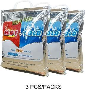 VECKLI 保温袋(热冷袋)食品储存袋和手提袋可重复使用的午餐袋 银色 14''x12'' lunchbag2258
