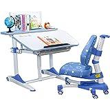 心家宜-95CM富美家板材气压辅助升降升降 学习桌椅套装 儿童写字桌 课桌 王子蓝M105R_M200L(供应商直送)