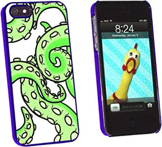 Graphics and More Octopus Tentacles Green On White - Squid Kraken - Snap-On Hard Protective Case for Apple iPhone 5/5s - Non-Retail Packaging - Blue