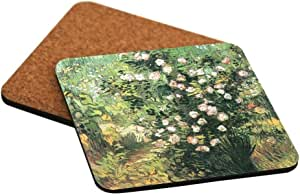 "Rikki Knight ""Vincent Van Gogh Art Flowering Rosebush Design"" Square Beer Coasters"