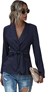 MakeMeChic 女式纯色披肩领前系带长袖商务外套