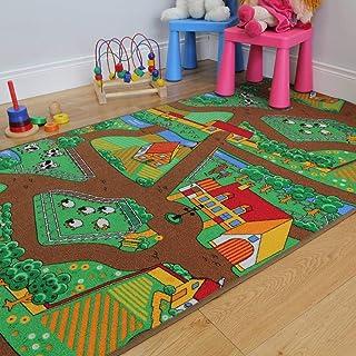 Fun Kid's Country 农场生活垫动物和拖拉机区地毯