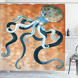 Ambesonne Octopus 装饰浴帘套装,大腿海域动物野生动物插画,浴室配件,长 190.5 厘米,橙色 蓝色