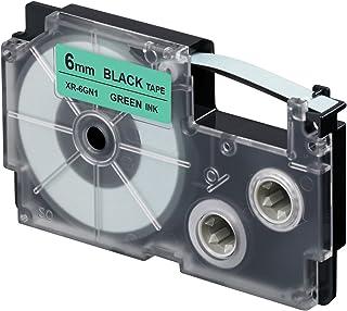 CASIO 卡西欧 EZ 标签打印机 XR-6GN1 标签带 自粘性 6 毫米 x 8.0 米 黑色 绿色