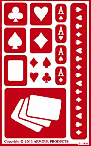 Armour Products Etch Over N Over Stencil, Poker Cards