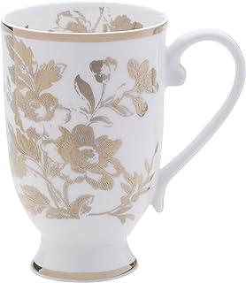 Mikasa 骨瓷制咖啡杯,16 盎司,瓷砖白/金色