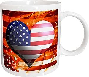 3drose dooni Designs patriotic 设计–美国美国国旗心形 ON 橙色 Sparkle Fractal 背景七月设计–马克杯 白色 15盎司