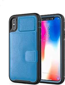 """【CaserBay】多功能钱包手机壳、身份证信用卡袋、重型坚固硬质 PC 和 TPU 缓冲皮革后盖兼容 iPhone For (5.8"""") iPhone XS & iPhone X 蓝色"""