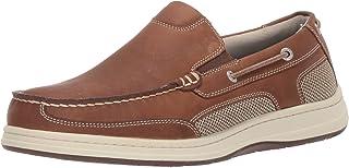 Dockers 男士 Tiller 皮革休闲一脚蹬乐福鞋船鞋带 NeverWet 灰褐色 Dark Tan 疯马 7.5 M US