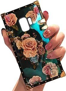 适用于三星 Galaxy S8 S9 Plus Note 9 Note 8 奢华蓝光复古装饰流行方形丙烯酸 + TPU 保护金属角防刮外壳 For Samsung Galaxy NOTE 8 Flower2
