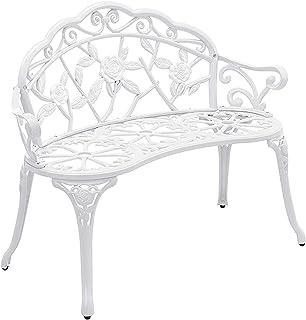 Hi-Line Gift 78657-WT 白色金属玫瑰花园长椅
