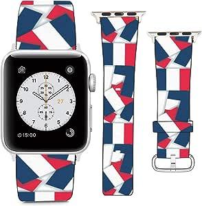 兼容苹果手表腕带 38mm 40mm(法国 - 图案拼贴带阴影的旗帜图案)PU 皮革表带替换表带 适用于 iWatch 系列 5 4 3 2 1
