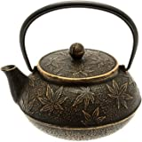 Iwachu岩铸日本铁茶壶/铸铁茶壶,金色与黑色枫叶图案