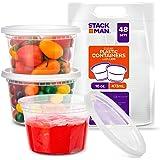 STACK MAN 塑料食品储存 Deli 有盖 airtight lids 48包 Translucent 16盎司