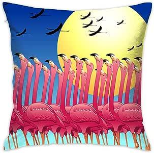 KOAJNF 枕套趣味数学装饰抱枕套 家用沙发靠垫套 45.72 x 45.72 厘米 Pink Flamingos's Dance on the Sun 18 x 18 Inch KOAJNF-14021950
