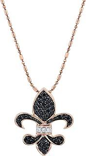 Oliva Paris 14k 玫瑰金鸢尾黑白钻石吊坠(SI1-SI2 白钻石净度)