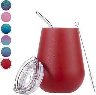 带盖绝缘酒杯不锈钢无柄酒杯杯,12 盎司(约 354.9 毫升)酒杯带盖和吸管 Red Wine Tumbler Red Wine Tumbler