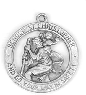 Eternal Jeweler Saint Christopher 锡合金勋章,60.96cm 不锈钢链