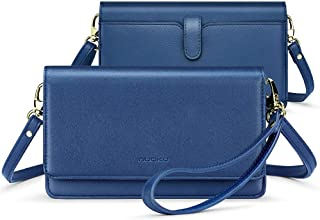 nuoku 女式小号斜挎包手机钱包钱包带 RFID 卡槽 2 个腕带(*大 6.5 英寸) M Size Blue