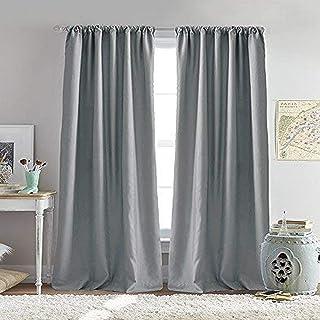 dream FACTORY Bliss 房间变暗内衬杆口袋窗帘板对 灰色 63-inch Panel Pair 1E200206GY