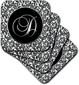 3dRose cst_38753_2 Letter D-Black and White Damask-Soft Coasters, Set of 8