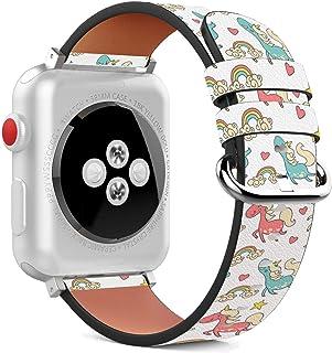 兼容 Apple Watch (系列 5、4、3、21)皮革腕带手链,带不锈钢表扣和适配器 - 手绘快乐彩虹独角兽 38 / 40 mm
