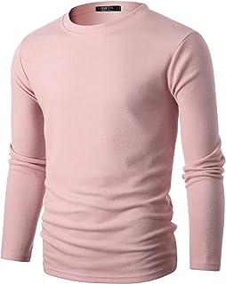 GIVON 男式修身長袖柔軟混紡寬羅紋圓領套頭衫畢業顏色毛衣