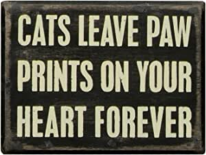 """Primitives by Kathy Box Sign, A Dog Doesn't Care Cats Leave Paw Prints 4"""" x 3"""" 19130"""
