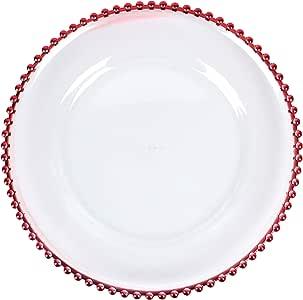 美国派对花朵优雅透明亚克力充电板带串珠边缘,12 件套(31.75 厘米) 红色 12.5 Inch