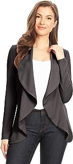 女式女式纯色印花弹力长袖前开西装外套/美国制造