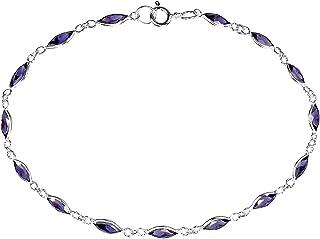 AeraVida Sublime 椭圆形紫色方晶锆石。 925 纯银环形手链