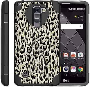 TurtleArmor ? 兼容 LG Stylus 2 手机壳? LG G Stylo 2 手机壳? Stylo 2 V [Dynamic Shell] 硬质混合外壳防吸收硅胶支架冲击酷设计 - Fainted Leopard Print