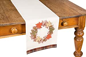 """Xia Home Fashions Maple Wreath Fall Table Runner, 13 by 108"""""""